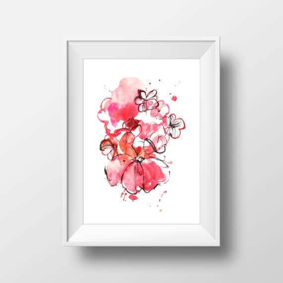 watercolor flowers wall art