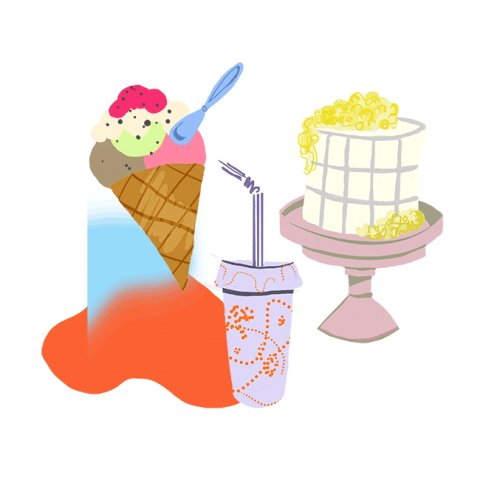 Ice cream with spoon, summer cake with berries and a drink to go. Colors are brown, red, yellow and blue.