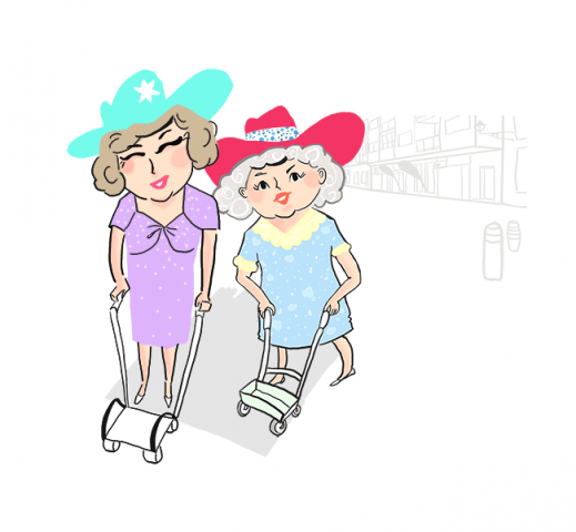 Lifestyle illustration of two seniors in colorful cowboy hats and summer dresses on their shopping route. Colors are blue, green, yellow, red and grey.