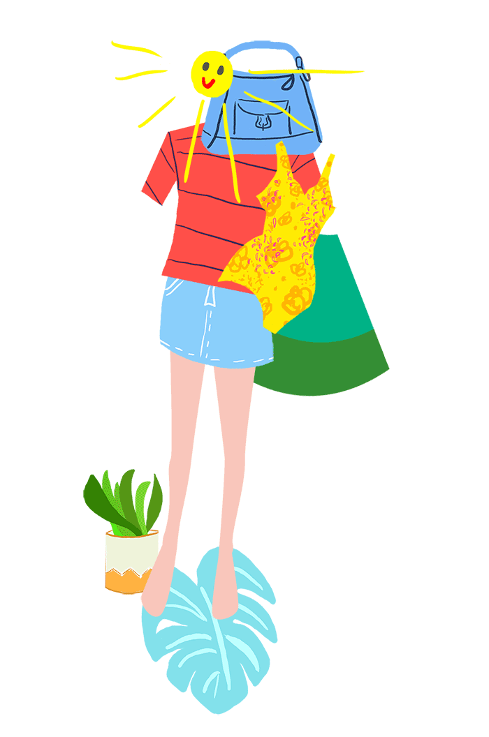 Illustration of spring wardobe with t-shirt, bag, skirts and some plants. Colors are red, yellow, green, blue and white.