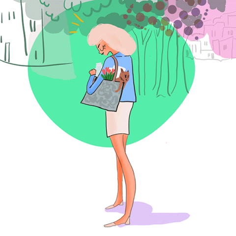 Illustration of street scene with with woman looking into her shopping bag with flowers, magazine and her dog looking for somthing exciting down the road. Cartoon style in white, green, brown and red colors.