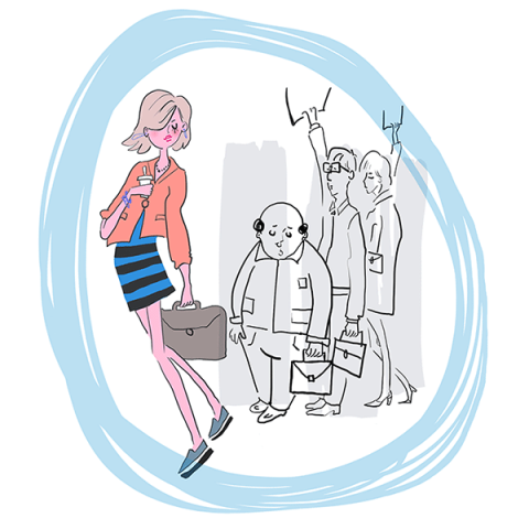 Lifestyle illustration of early morning commuters, a woman in the foreground with coffee to go, two men and a woman in the background. Colors are orange, blue, grey and black.