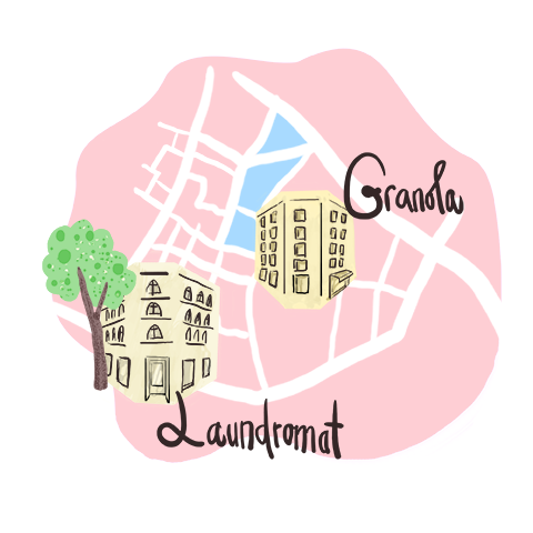 Illustration of city map of a part of Copenhagen, displaying caffee laundromat and caffee granola.. Pink, green brown and white colors.