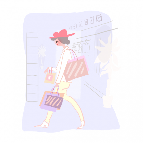 Illustration of shopper with shopping bags. Colors are purple, red, brown and yellow.