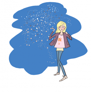 Lifestyle illustration of young woman in the night with blikning stars