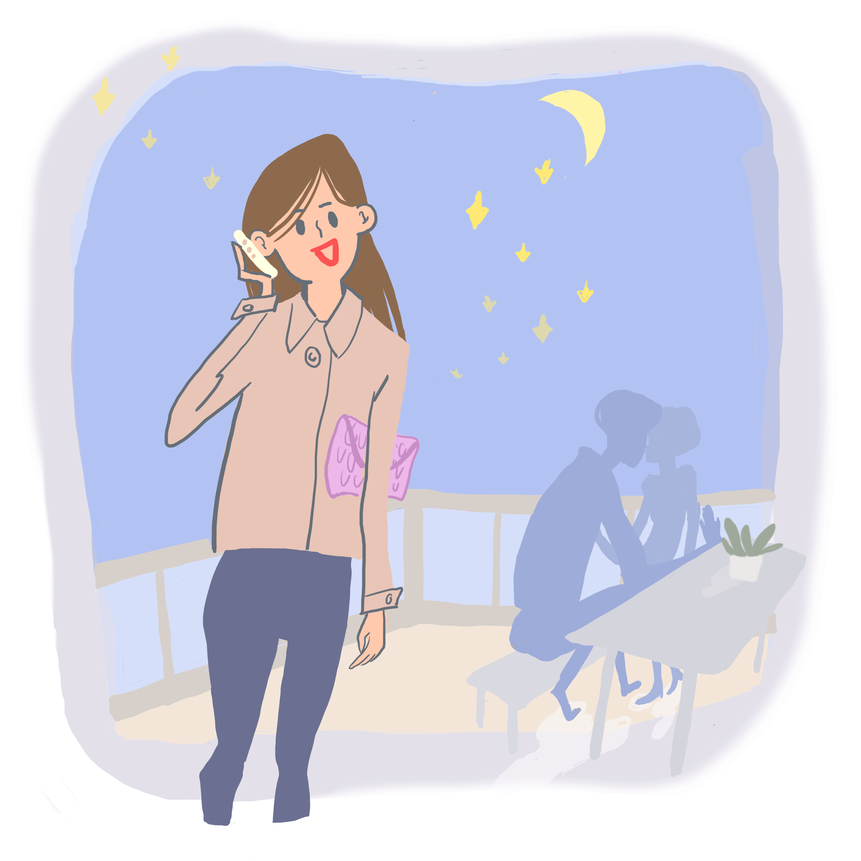 Illustration of woman talking in her cell phone, and a romatic couple at a table in the background. Colors are blue, beige, green and grey.