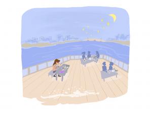 copenhagen by the lake moon light illustration