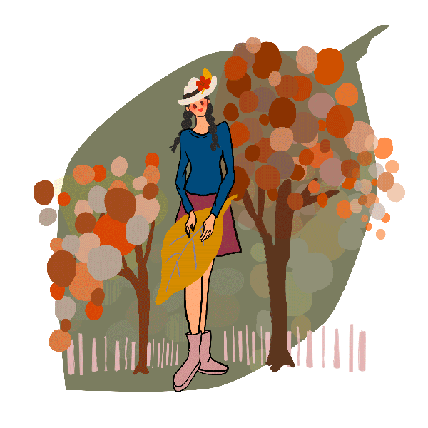 fall woman trees leaves lifestyle
