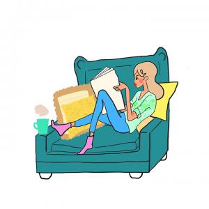 woman reading book hygge