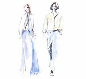 lanvin fashion illustration couple watercolor