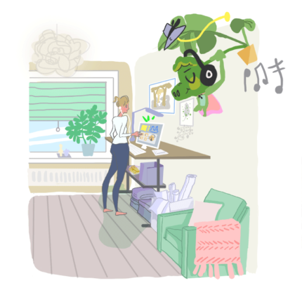 lifestyle illustration - working from home. Social distancing, COVID-19.