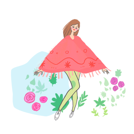 fashion illustration - young woman in red jacket and green tights. Grass and pinkt roses.